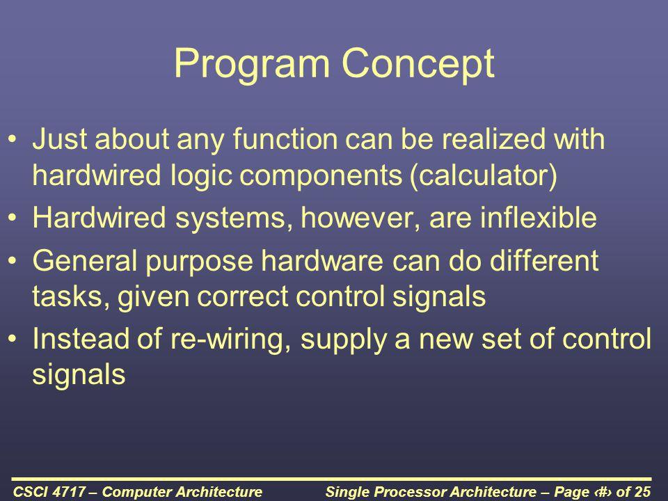 Single Processor Architecture – Page 14 of 25CSCI 4717 – Computer Architecture Program Flow Control
