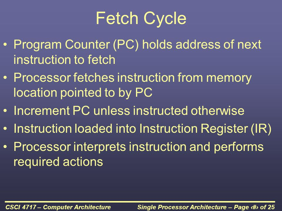 Single Processor Architecture – Page 20 of 25CSCI 4717 – Computer Architecture Instruction Cycle (with Interrupts) - State Diagram