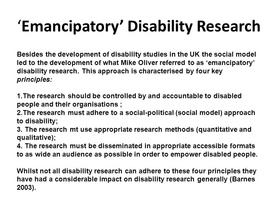 References Barnes, C.1991: Disabled People in Britain and Discrimination.