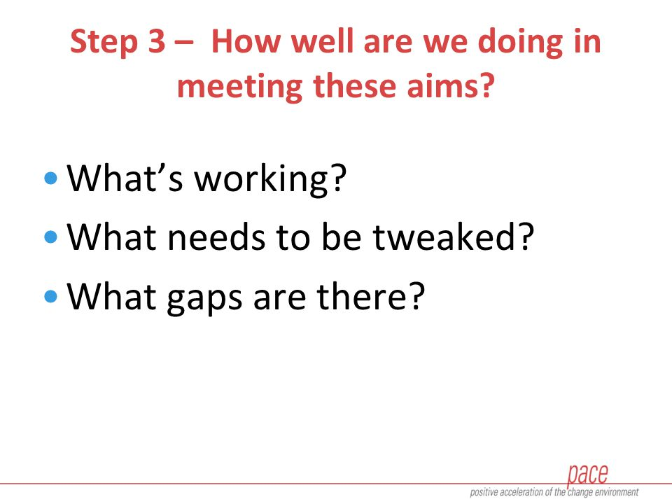 Step 3 – How well are we doing in meeting these aims.