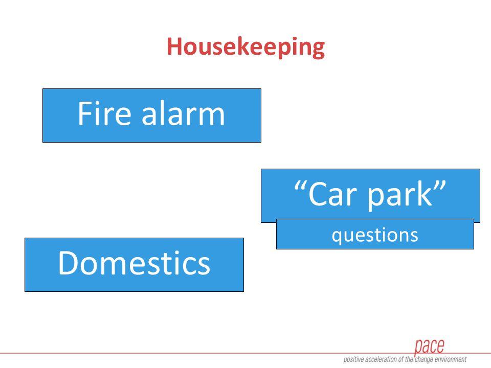 Housekeeping Fire alarm Car park Domestics questions