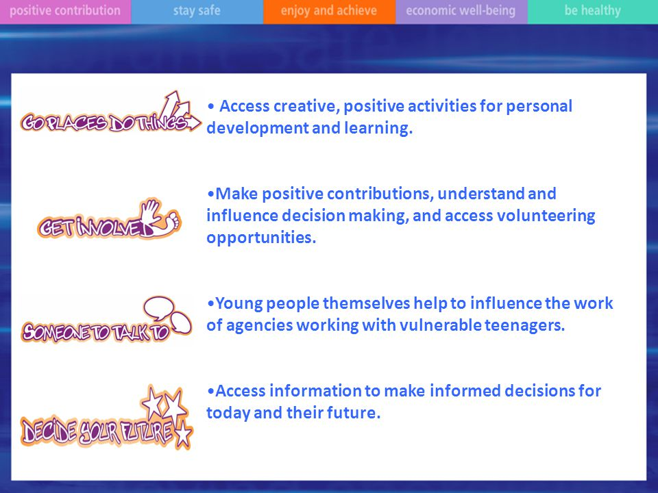 Access creative, positive activities for personal development and learning.