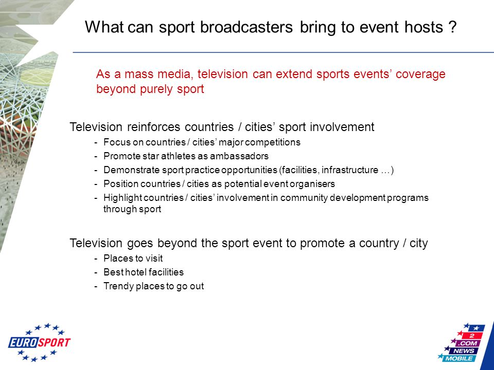 Television reinforces countries / cities' sport involvement -Focus on countries / cities' major competitions -Promote star athletes as ambassadors -De