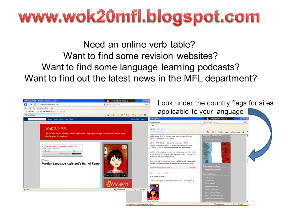 Need an online verb table? Want to find some revision websites? Want to find some language learning podcasts? Want to find out the latest news in the