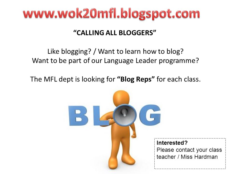 CALLING ALL BLOGGERS Like blogging. / Want to learn how to blog.