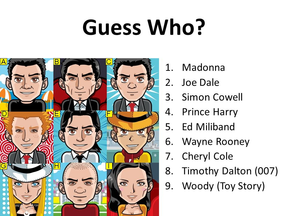 Guess Who? 1.Madonna 2.Joe Dale 3.Simon Cowell 4.Prince Harry 5.Ed Miliband 6.Wayne Rooney 7.Cheryl Cole 8.Timothy Dalton (007) 9.Woody (Toy Story) AB