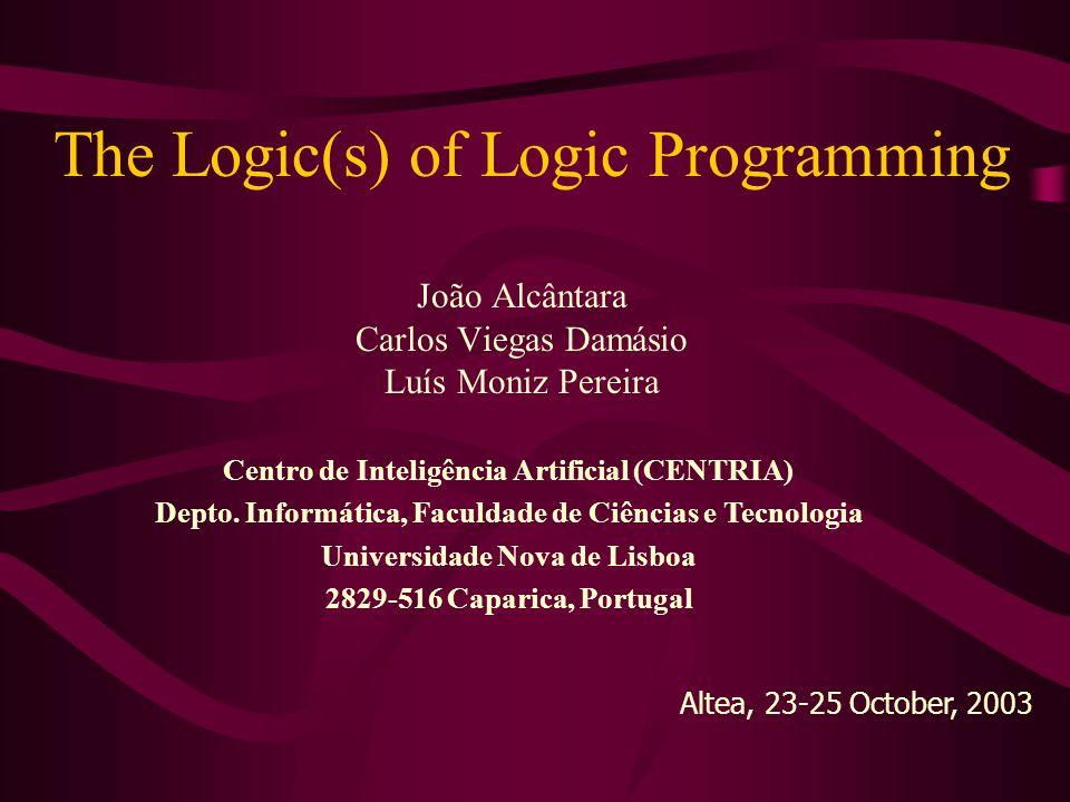 The Logic(s) of Logic Programming João Alcântara Carlos Viegas Damásio Luís Moniz Pereira Centro de Inteligência Artificial (CENTRIA) Depto.