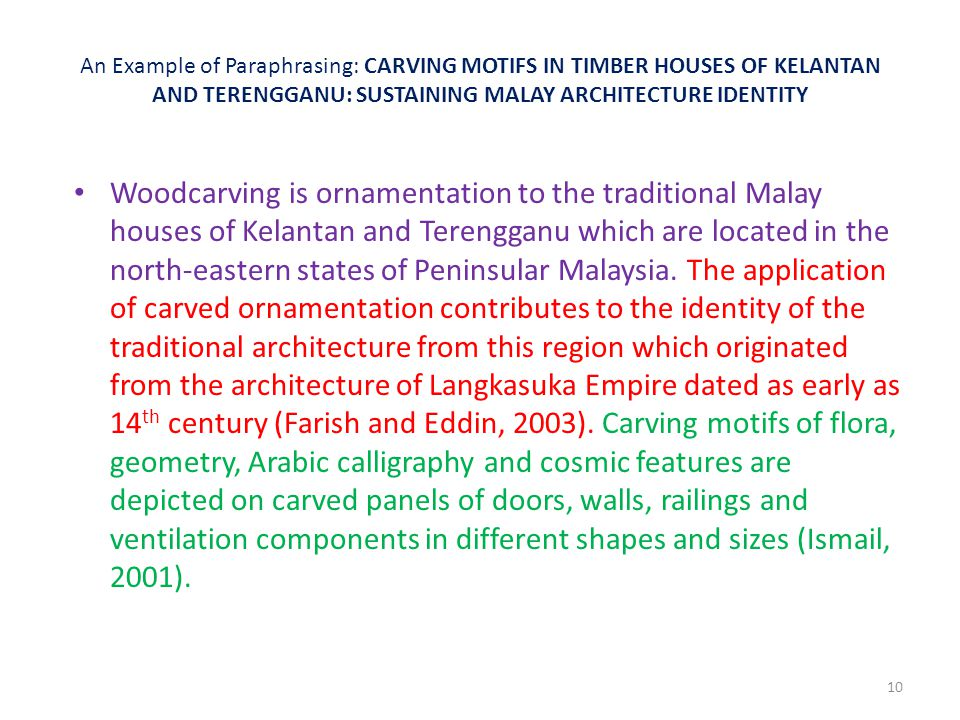 An Example of Paraphrasing: CARVING MOTIFS IN TIMBER HOUSES OF KELANTAN AND TERENGGANU: SUSTAINING MALAY ARCHITECTURE IDENTITY Woodcarving is ornament