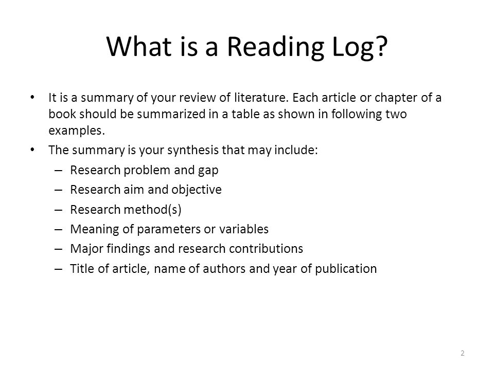What is a Reading Log? It is a summary of your review of literature. Each article or chapter of a book should be summarized in a table as shown in fol