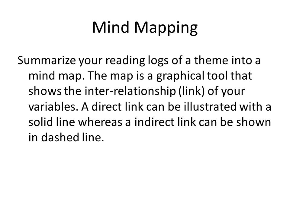 Mind Mapping Summarize your reading logs of a theme into a mind map. The map is a graphical tool that shows the inter-relationship (link) of your vari