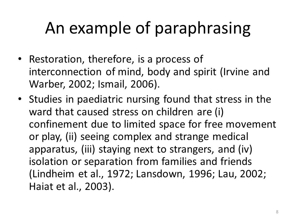 An example of paraphrasing Restoration, therefore, is a process of interconnection of mind, body and spirit (Irvine and Warber, 2002; Ismail, 2006). S
