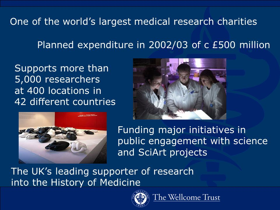 Supports more than 5,000 researchers at 400 locations in 42 different countries Funding major initiatives in public engagement with science and SciArt projects The UK's leading supporter of research into the History of Medicine Planned expenditure in 2002/03 of c £500 million One of the world's largest medical research charities