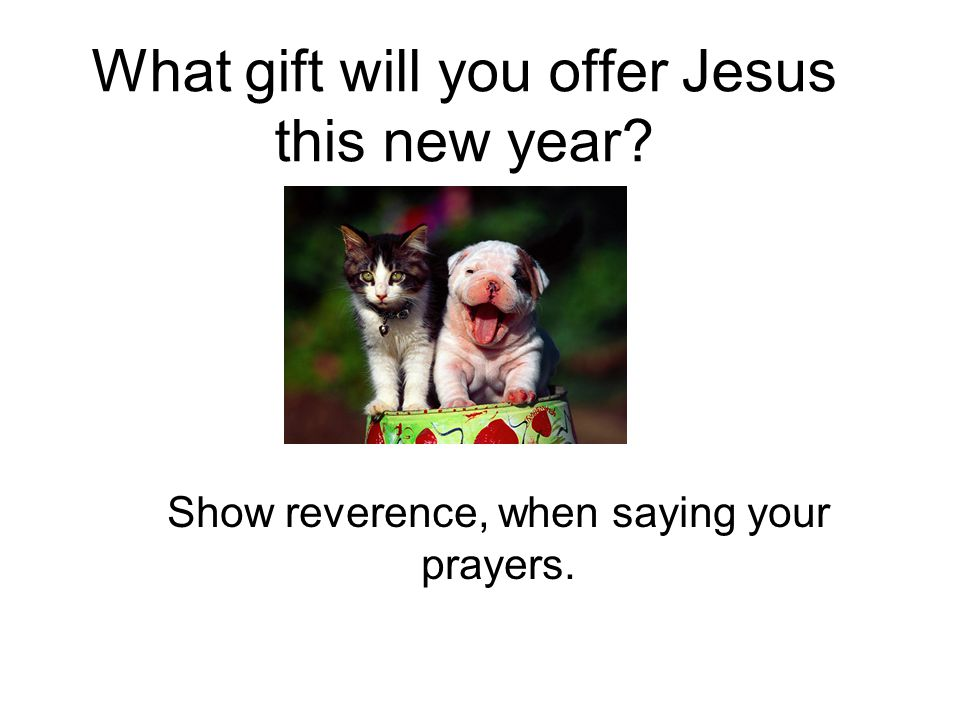 What gift will you offer Jesus this new year Show reverence, when saying your prayers.