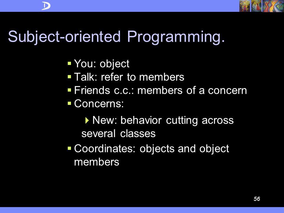 55 Demeter.  You: object  Talk: method calls  Friends c.c.: traversal method calls (WhereToGo)  Concerns:  Old: WhereToGo  New: WhenAndWhatToDo