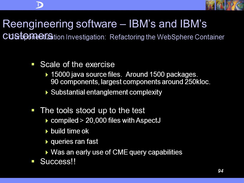 93 Componentization Investigation: Refactoring the WebSphere Container  Concern Modelling  Visualization  Concern-based queries  At one point, Query capability reported > 1000 links to resolve  Refactoring using OO and AspectJ Reengineering software – IBM's and IBM's customers