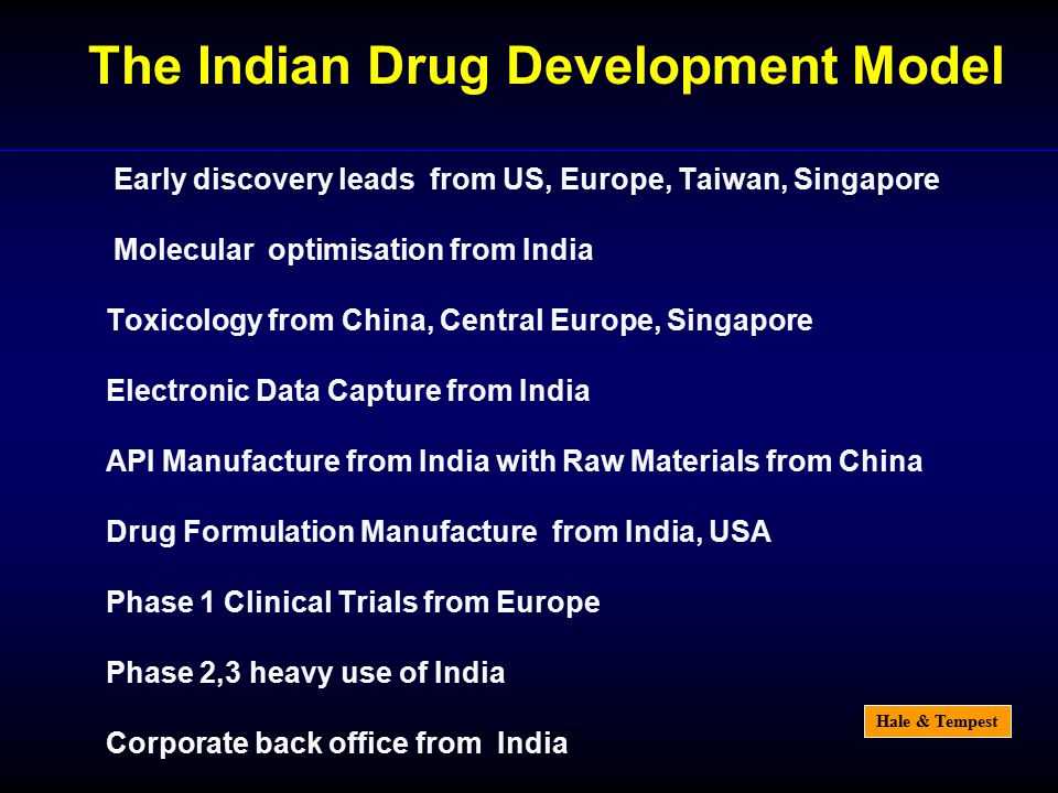 Hale & Tempest Early discovery leads from US, Europe, Taiwan, Singapore Molecular optimisation from India Toxicology from China, Central Europe, Singapore Electronic Data Capture from India API Manufacture from India with Raw Materials from China Drug Formulation Manufacture from India, USA Phase 1 Clinical Trials from Europe Phase 2,3 heavy use of India Corporate back office from India The Indian Drug Development Model