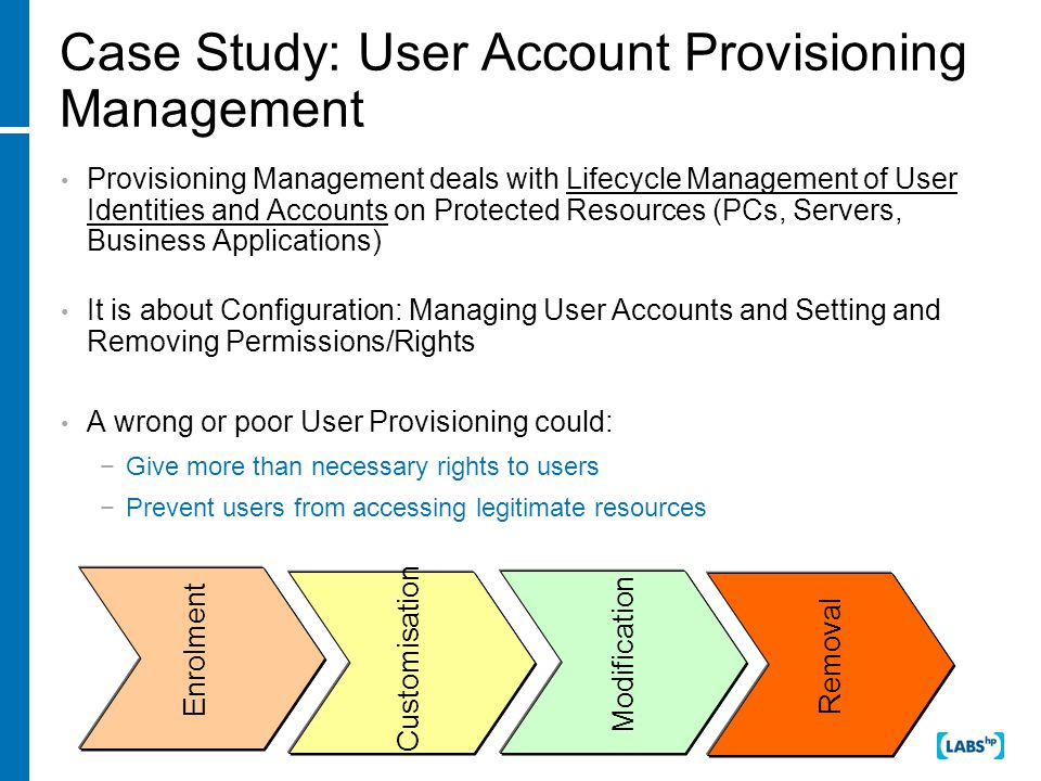 Case Study: User Account Provisioning Management Provisioning Management deals with Lifecycle Management of User Identities and Accounts on Protected Resources (PCs, Servers, Business Applications) It is about Configuration: Managing User Accounts and Setting and Removing Permissions/Rights A wrong or poor User Provisioning could: −Give more than necessary rights to users −Prevent users from accessing legitimate resources Enrolment Customisation Modification Removal