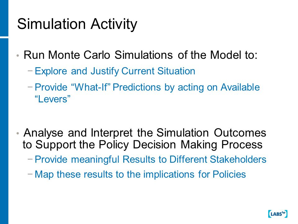 Simulation Activity Run Monte Carlo Simulations of the Model to: −Explore and Justify Current Situation −Provide What-If Predictions by acting on Available Levers Analyse and Interpret the Simulation Outcomes to Support the Policy Decision Making Process −Provide meaningful Results to Different Stakeholders −Map these results to the implications for Policies
