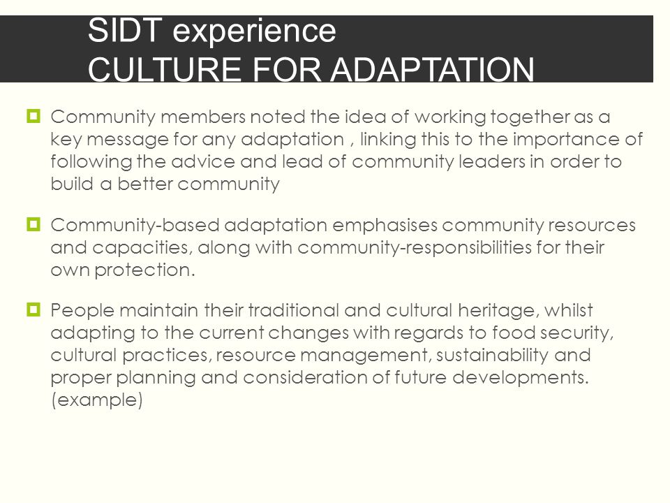 SIDT experience CULTURE FOR ADAPTATION  Community members noted the idea of working together as a key message for any adaptation, linking this to the importance of following the advice and lead of community leaders in order to build a better community  Community-based adaptation emphasises community resources and capacities, along with community-responsibilities for their own protection.