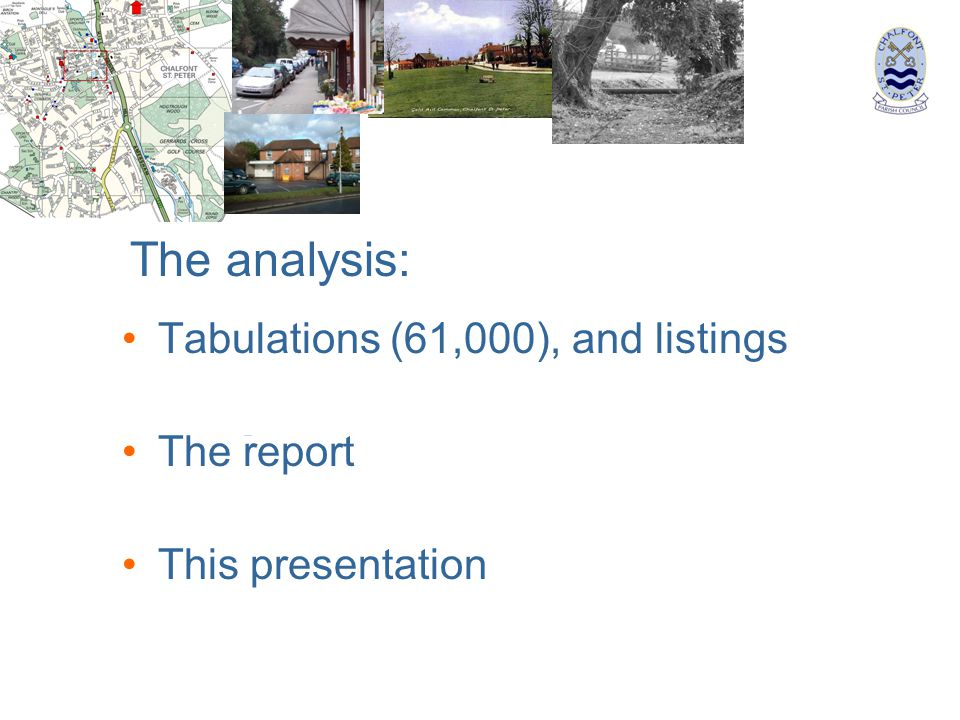 Tabulations (61,000), and listings The report This presentation The analysis: