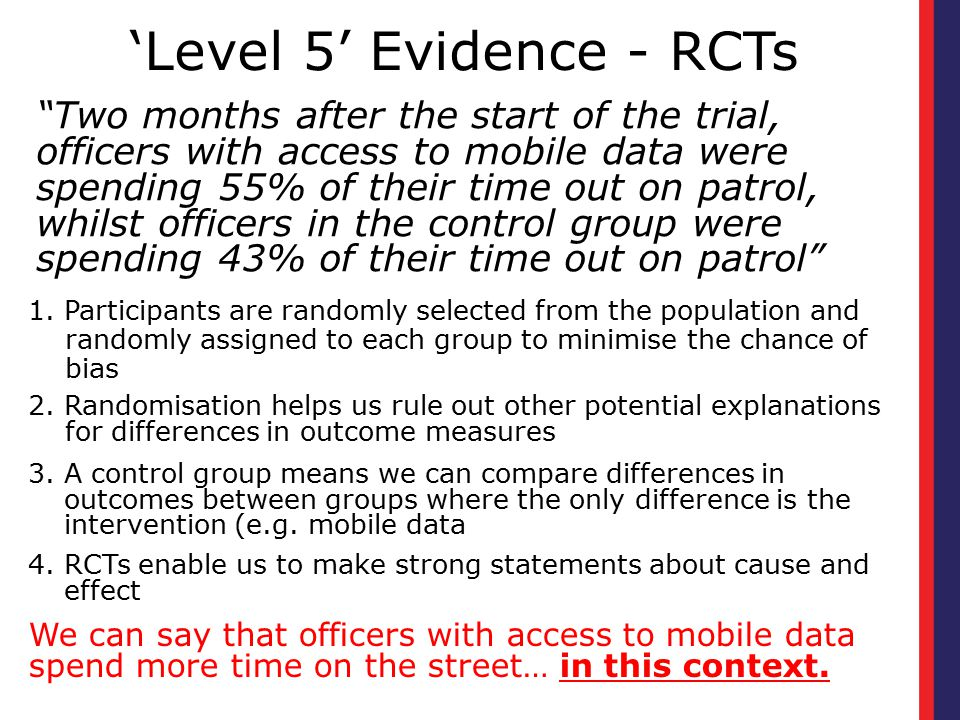 'Level 5' Evidence - RCTs 1. Participants are randomly selected from the population and randomly assigned to each group to minimise the chance of bias
