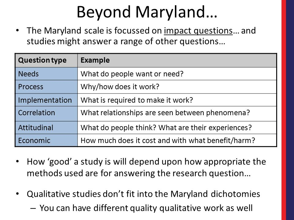 Beyond Maryland… The Maryland scale is focussed on impact questions… and studies might answer a range of other questions… Qualitative studies don't fi