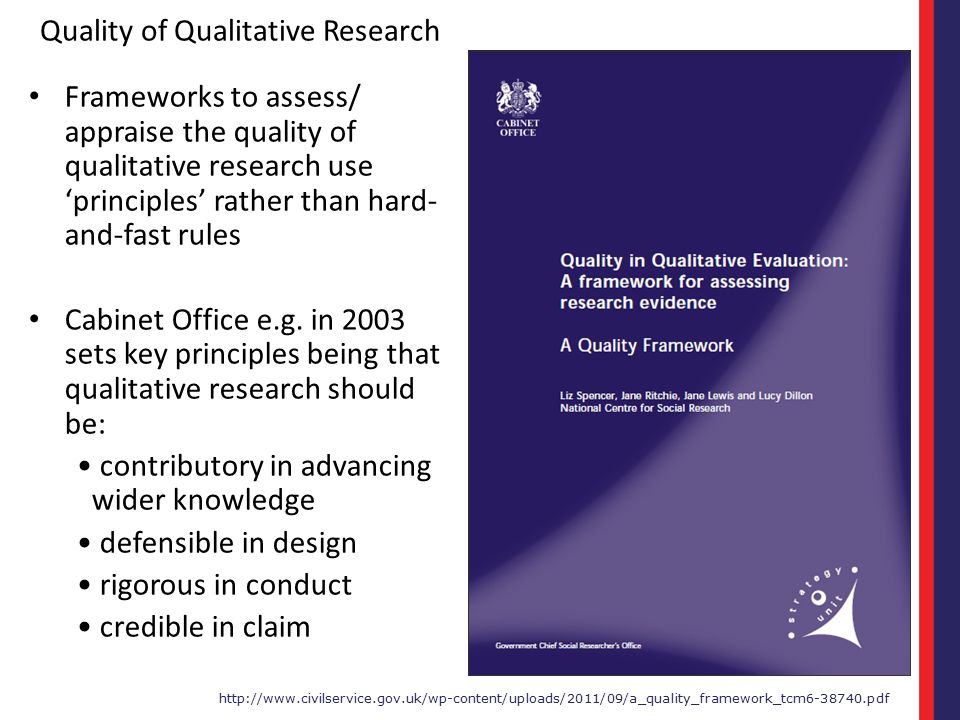 Quality of Qualitative Research Frameworks to assess/ appraise the quality of qualitative research use 'principles' rather than hard- and-fast rules C