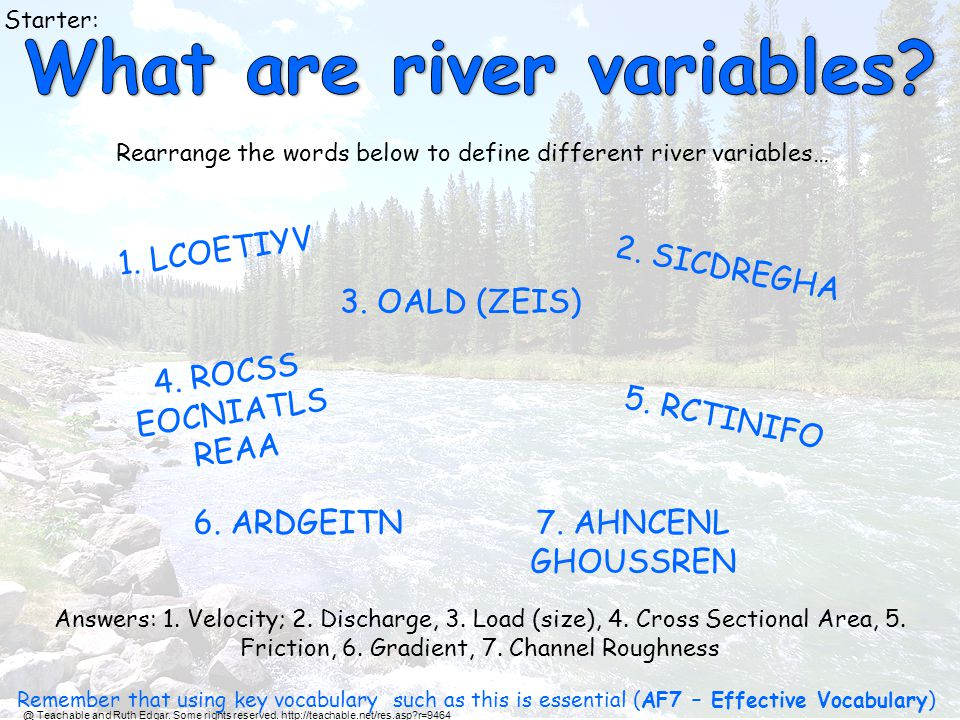 Rearrange the words below to define different river variables… 1.