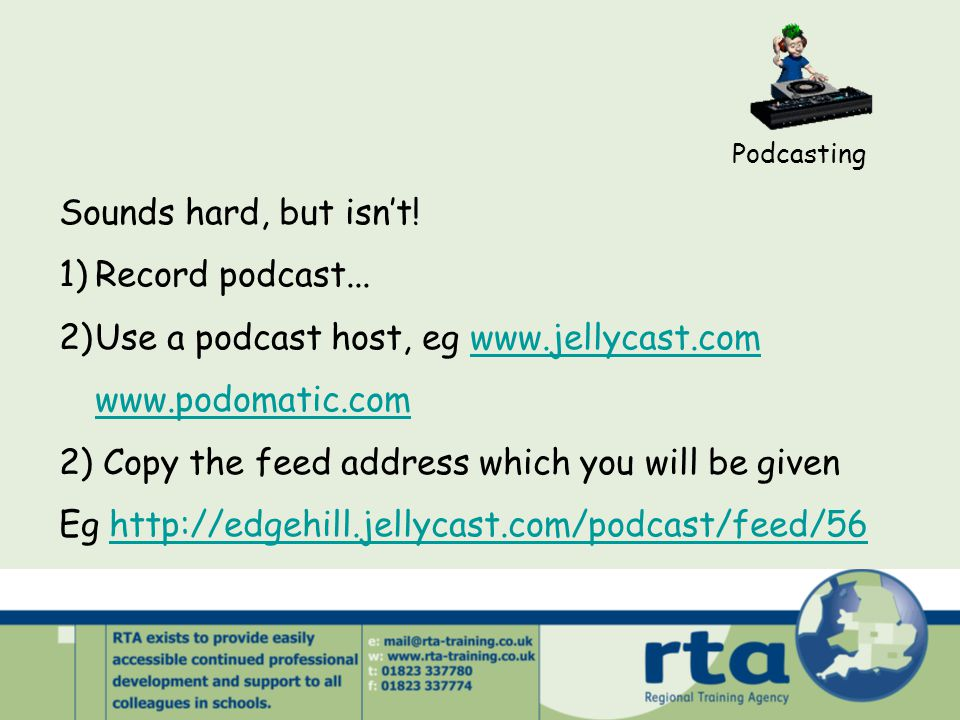 Podcasting Sounds hard, but isn't. 1)Record podcast...