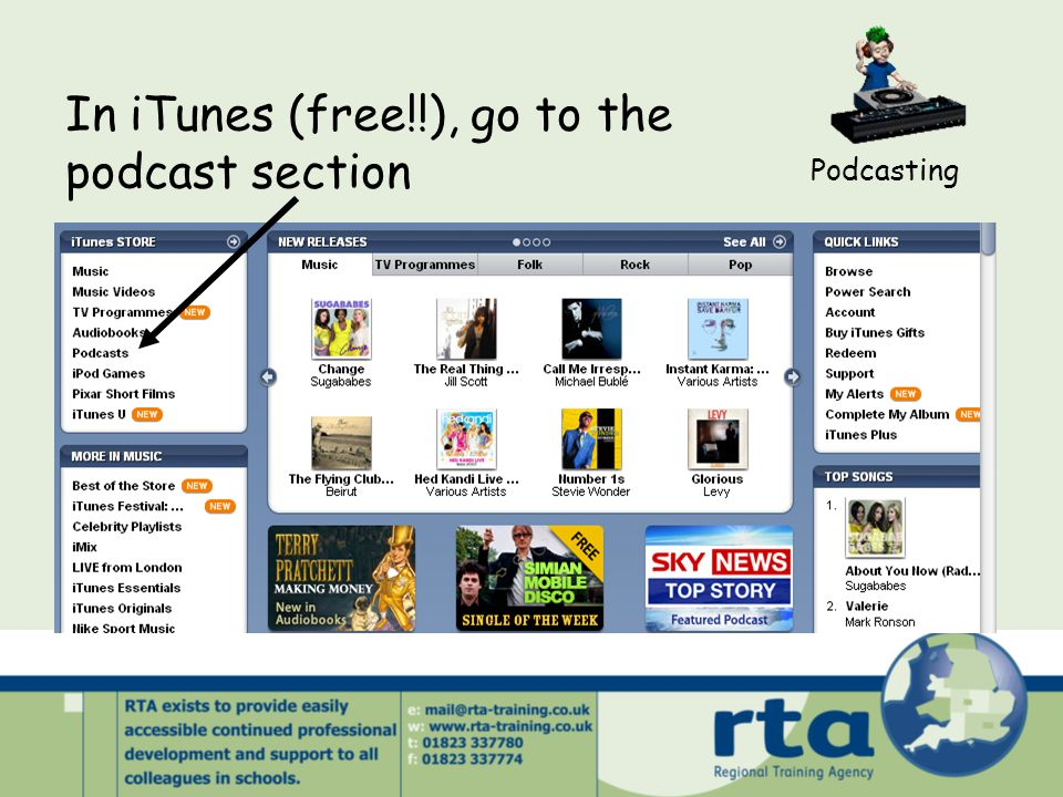 In iTunes (free!!), go to the podcast section Podcasting