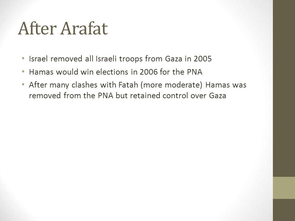 After Arafat Israel removed all Israeli troops from Gaza in 2005 Hamas would win elections in 2006 for the PNA After many clashes with Fatah (more mod