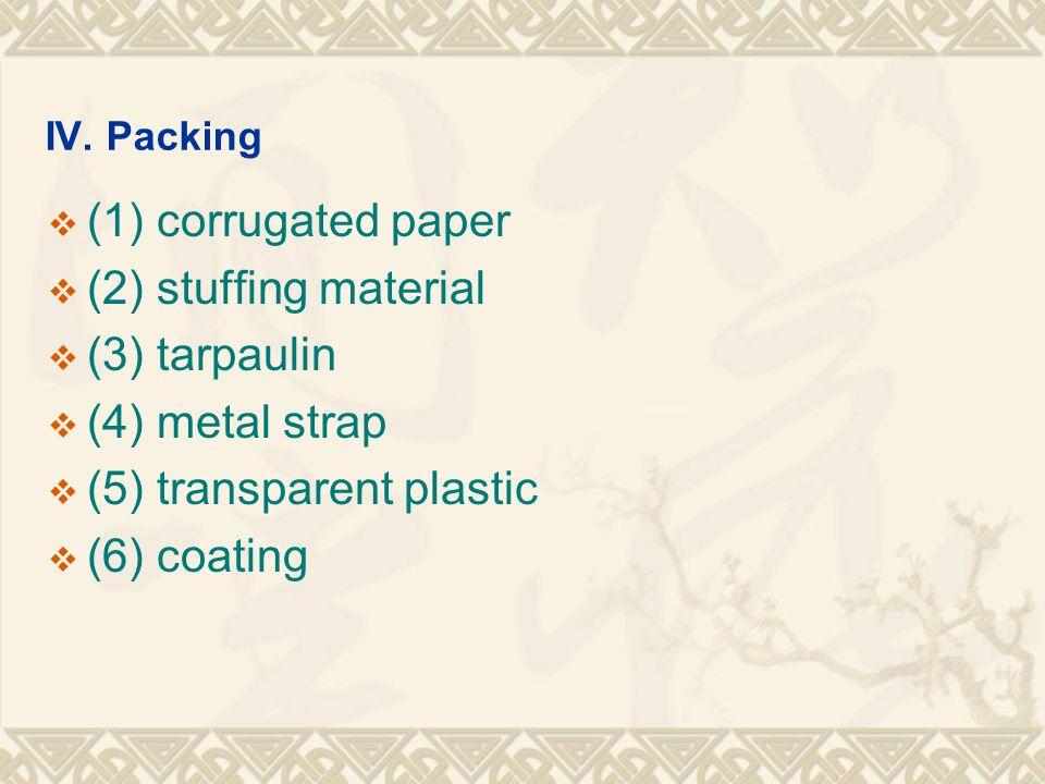 IV. Packing  (1) corrugated paper  (2) stuffing material  (3) tarpaulin  (4) metal strap  (5) transparent plastic  (6) coating