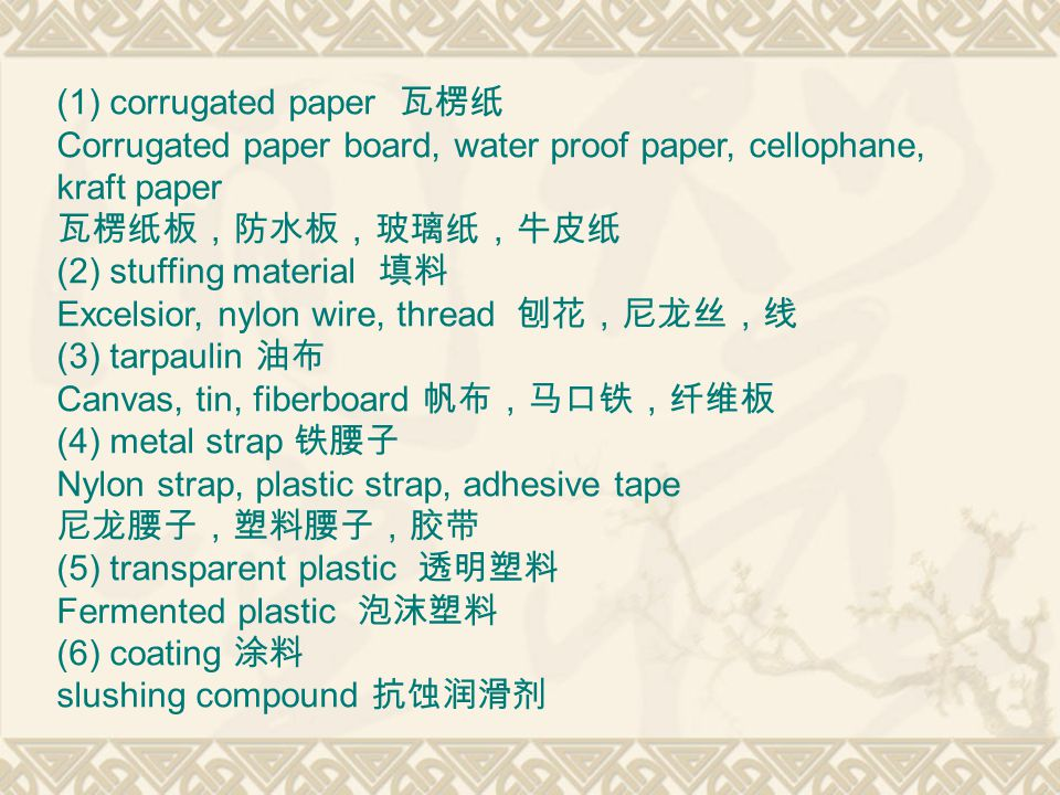 (1) corrugated paper 瓦楞纸 Corrugated paper board, water proof paper, cellophane, kraft paper 瓦楞纸板,防水板,玻璃纸,牛皮纸 (2) stuffing material 填料 Excelsior, nylon wire, thread 刨花,尼龙丝,线 (3) tarpaulin 油布 Canvas, tin, fiberboard 帆布,马口铁,纤维板 (4) metal strap 铁腰子 Nylon strap, plastic strap, adhesive tape 尼龙腰子,塑料腰子,胶带 (5) transparent plastic 透明塑料 Fermented plastic 泡沫塑料 (6) coating 涂料 slushing compound 抗蚀润滑剂