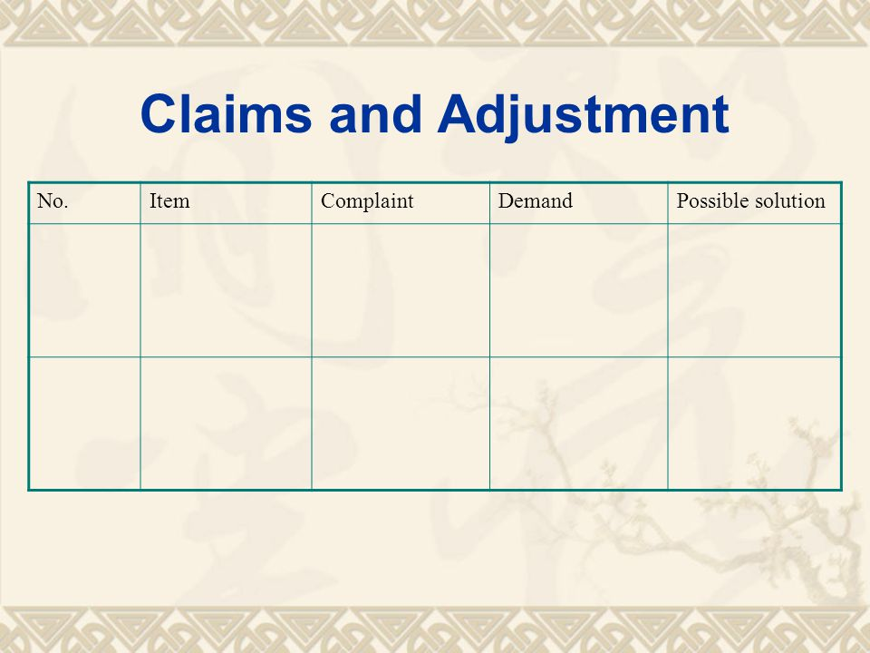 Claims and Adjustment No.ItemComplaintDemandPossible solution