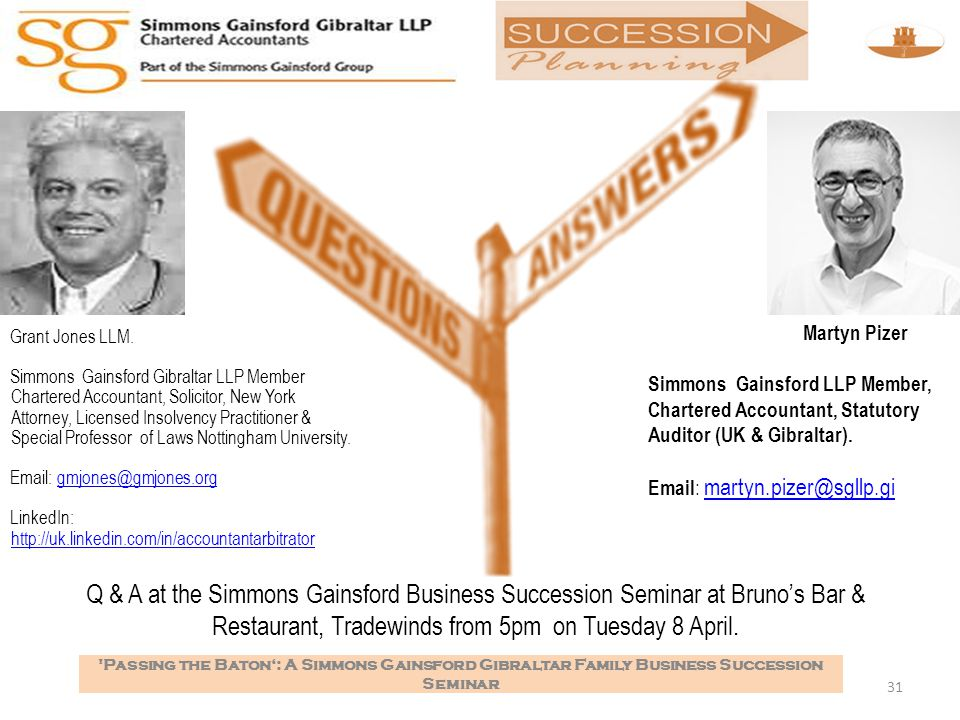 Q & A at the Simmons Gainsford Business Succession Seminar at Bruno's Bar & Restaurant, Tradewinds from 5pm on Tuesday 8 April.