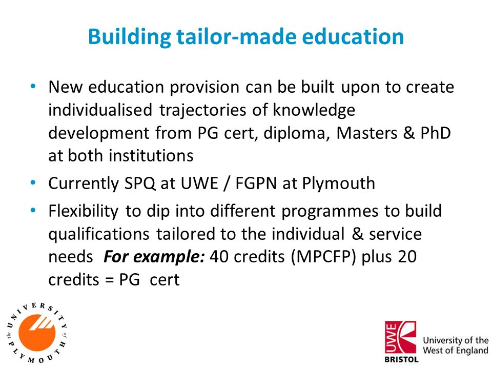 Building tailor-made education New education provision can be built upon to create individualised trajectories of knowledge development from PG cert,