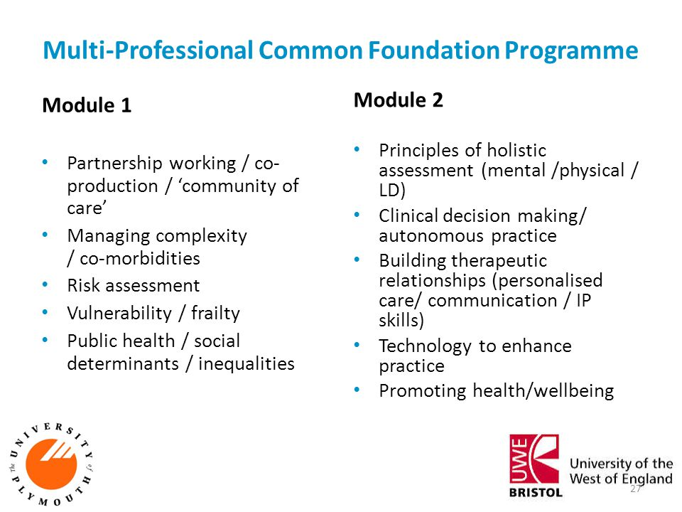 Multi-Professional Common Foundation Programme Module 1 Partnership working / co- production / 'community of care' Managing complexity / co-morbiditie
