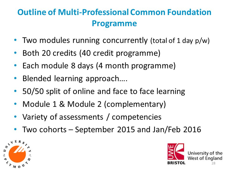 Outline of Multi-Professional Common Foundation Programme Two modules running concurrently (total of 1 day p/w) Both 20 credits (40 credit programme)