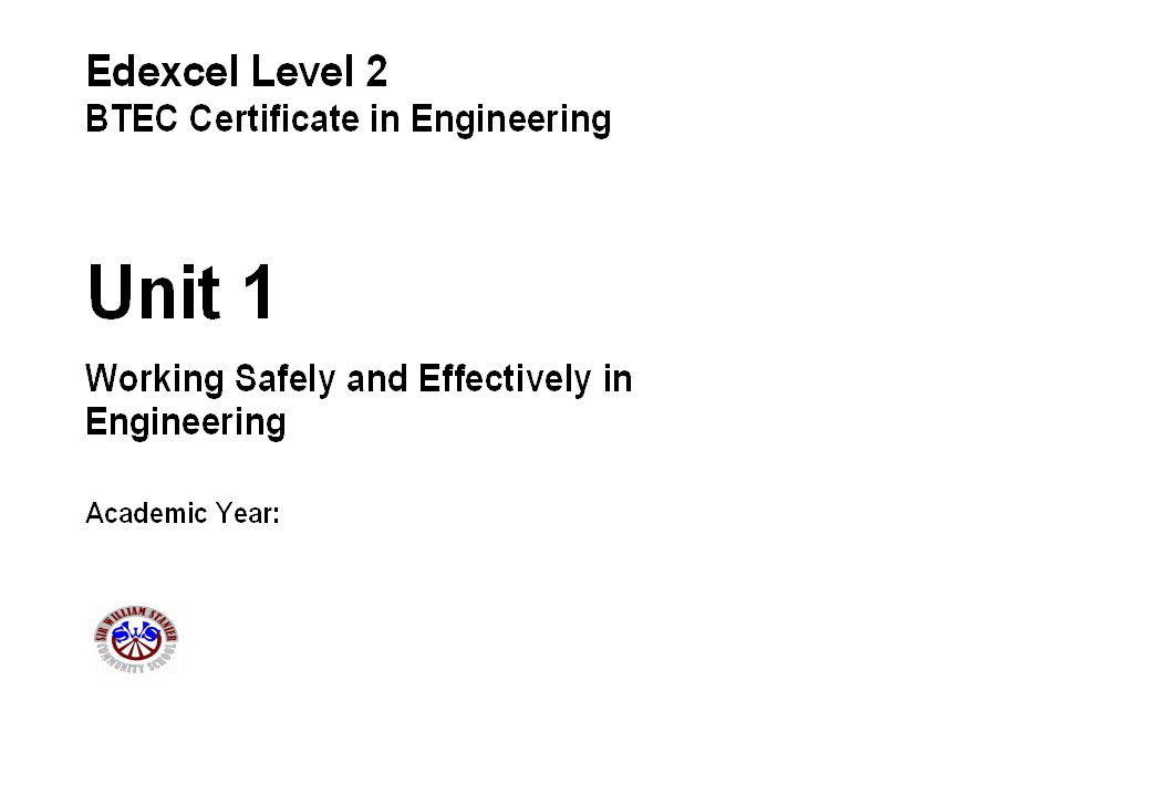 Name:Candidate No: Unit 1: Working Safely and Effectively in Engineering Task: 3c(i) Grading Criteria: D1 Key Skills: Assignment: 3 - Safety Policy Document Health and Safety Policy Document You are to prepare of safety policy document for the workshop area around the lathes, pillar drills and milling machines.