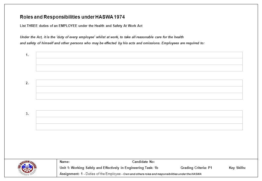 Name:Candidate No: Unit 1: Working Safely and Effectively in Engineering Task: 1b Grading Criteria: P1 Key Skills: Assignment: 1 - Duties of the Employee - Own and others roles and responsibilities under the HASWA Roles and Responsibilities under HASWA 1974 List THREE duties of an EMPLOYEE under the Health and Safety At Work Act 1.