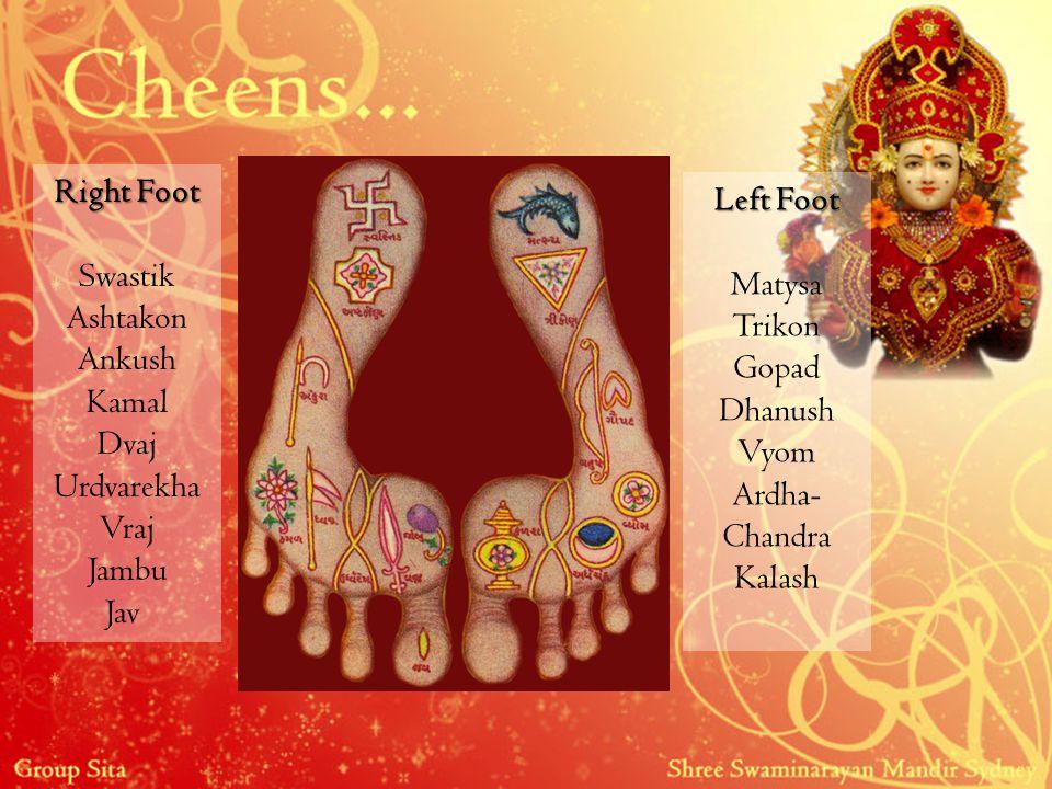 Right Foot Swastik Ashtakon Ankush Kamal Dvaj Urdvarekha Vraj Jambu Jav Left Foot Matysa Trikon Gopad Dhanush Vyom Ardha- Chandra Kalash