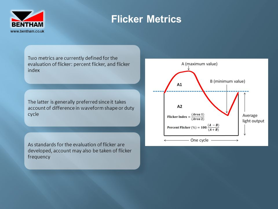Flicker Metrics Two metrics are currently defined for the evaluation of flicker: percent flicker, and flicker index The latter is generally preferred