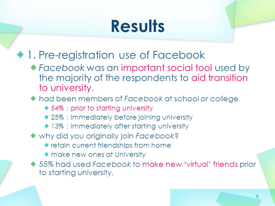 9 1. Pre-registration use of Facebook Facebook was an important social tool used by the majority of the respondents to aid transition to university. h