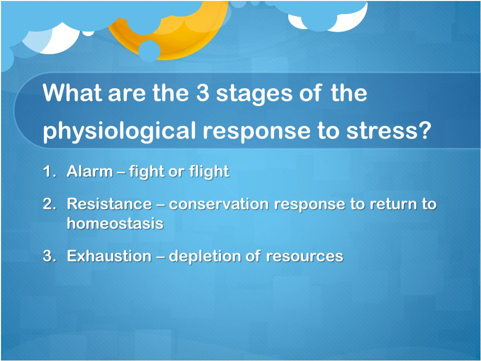 What are the 3 stages of the physiological response to stress.