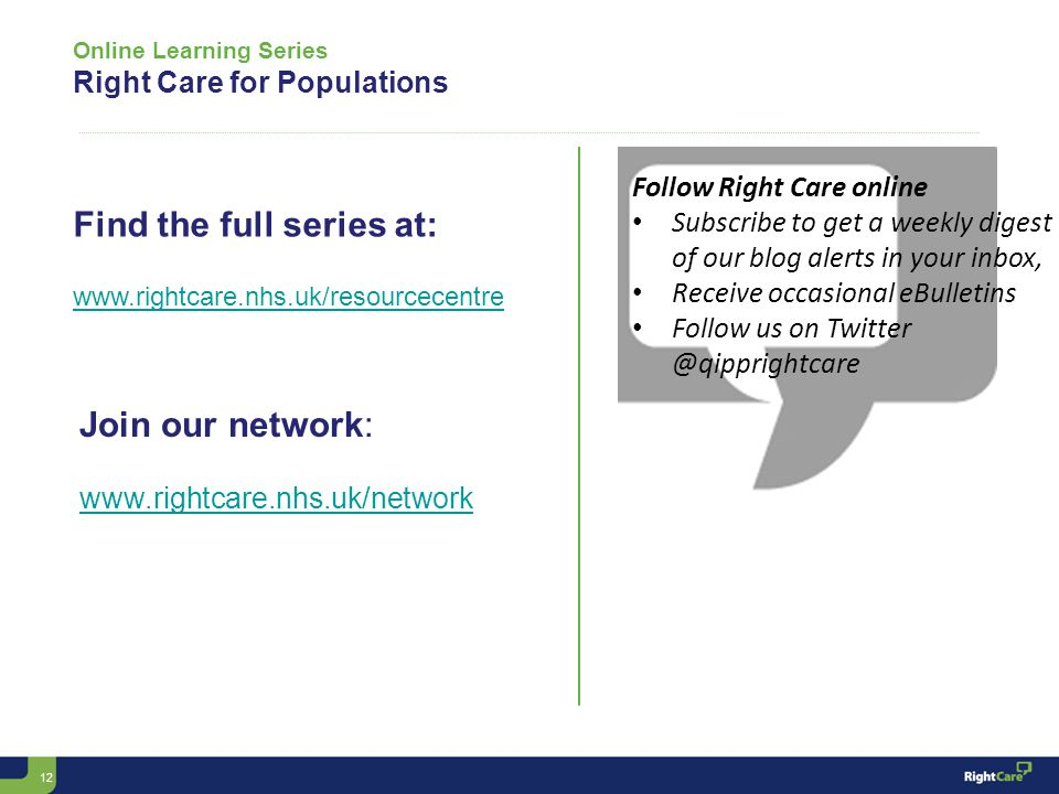 12 Online Learning Series Right Care for Populations Follow Right Care online Subscribe to get a weekly digest of our blog alerts in your inbox, Receive occasional eBulletins Follow us on Twitter @qipprightcare Find the full series at: www.rightcare.nhs.uk/resourcecentre Join our network: www.rightcare.nhs.uk/network