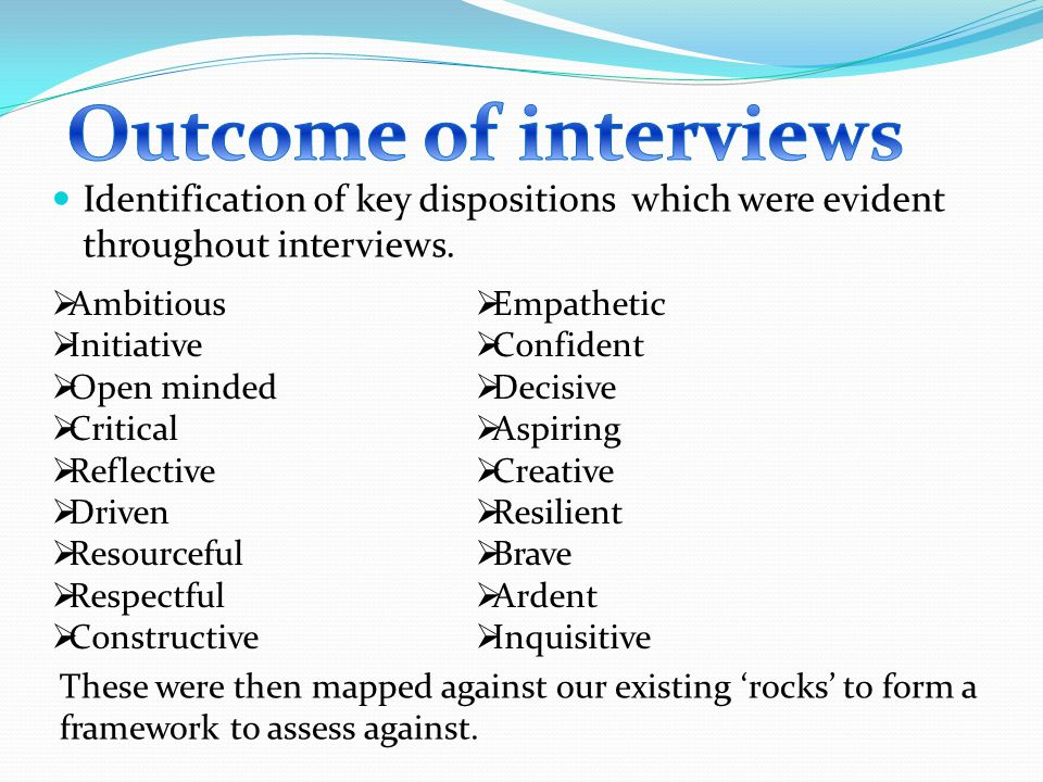 Identification of key dispositions which were evident throughout interviews.
