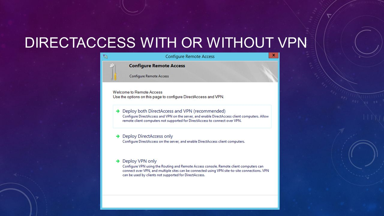 DIRECTACCESS WITH OR WITHOUT VPN