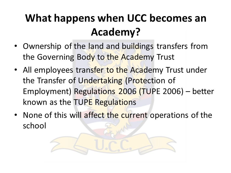 What happens when UCC becomes an Academy.