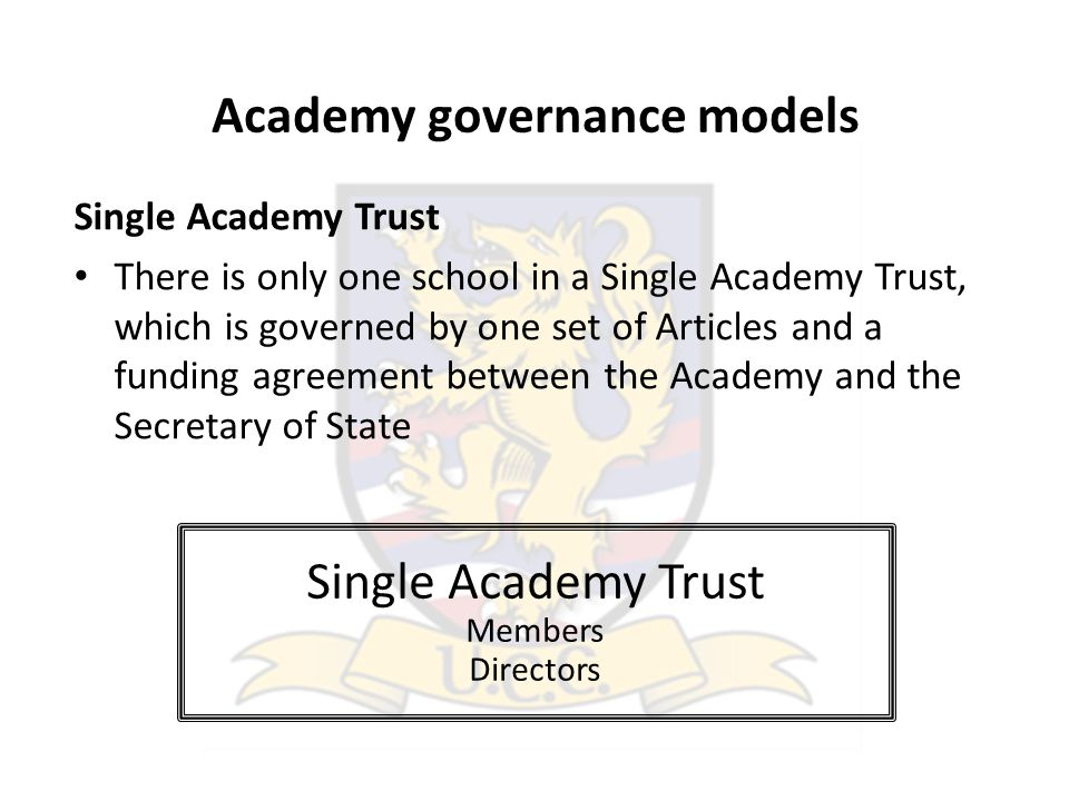 Academy governance models Single Academy Trust There is only one school in a Single Academy Trust, which is governed by one set of Articles and a funding agreement between the Academy and the Secretary of State Single Academy Trust Members Directors