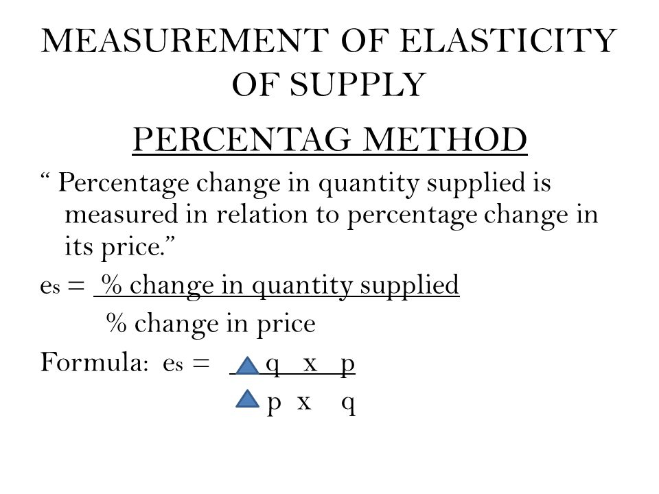 "MEASUREMENT OF ELASTICITY OF SUPPLY PERCENTAG METHOD "" Percentage change in quantity supplied is measured in relation to percentage change in its pric"